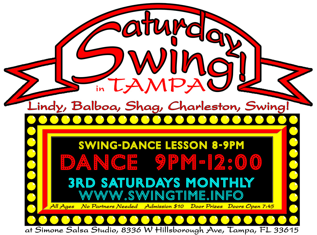 Saturday Swing is an exciting Lindy Hop and Balboa dance happening the 3rd Saturday of every month at Simone Salsa studio in Tampa Florida!