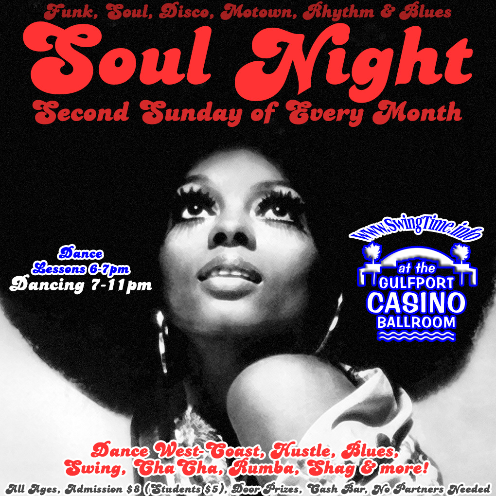 Soul Night, 2nd Sundays Monthly, at Gulfport Casino Ballroom in Tampa Bay FL