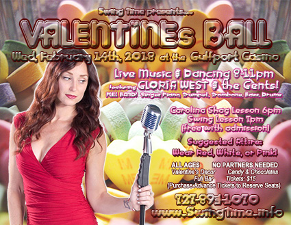 Valentine's Ball Wednesday 2/14/2018 at the Gulfport Casino Ballroom in Tampa Bay Florida with Live Music by Gloria West & the Gents