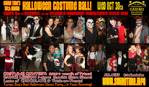 Swing Time's 18th Annual Halloween Costume Ball, Wednesday 10/30/2019, at the Gulfport Casino Swing Night