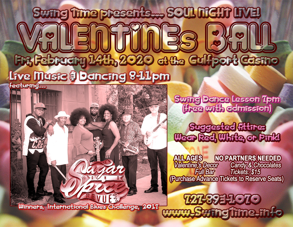 Valentine's Ball 2/14/2020 at the Gulfport Casino Ballroom in Tampa Bay FL featuring live music by Sugar & Spice Revue
