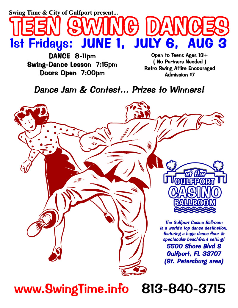 Teen Swing Dances! 1st Friday of Every Month at Gulfport Casino Ballroom, Tampa Bay, Florida